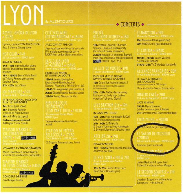International Jazz Day programme Lyon 2015