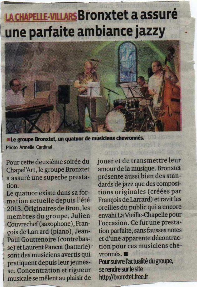 article Progrès Chapelle Villars juillet 2014
